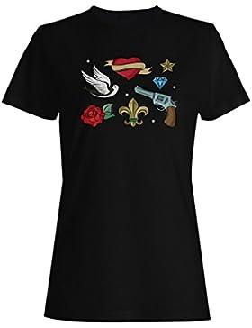 Nueva Colección De Tatuajes De La Vieja Escuela camiseta de las mujeres h554f