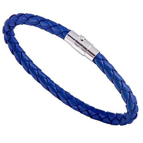 Armreif mit Kette, NEW Trendy Men Black Leather Bracelet Friendship Bracelets & Bangles Bracelets Hombre Punk Men Jewelry Christmas Gift SL1762 Blue (Anzug Christmas Blue)