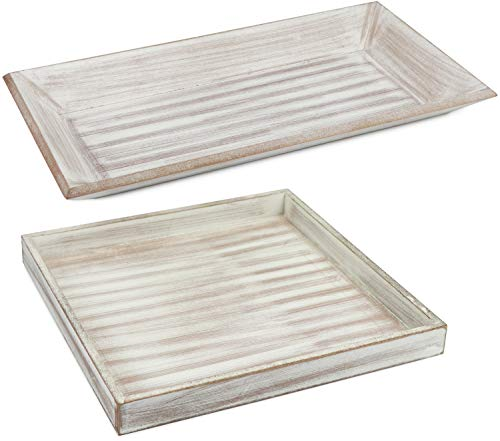 com-four® 2X Set de Plateaux décoratifs en Bois au Design Vintage (02 pièces - Tablette carrée/rectangulaire)