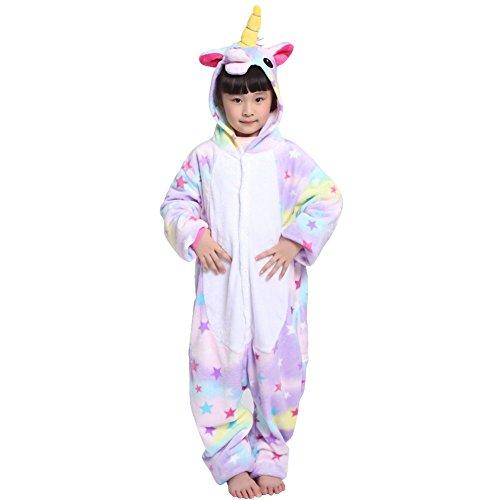 Rojeam Kinder Regenbogen Einhorn Pyjamas Tier Kostüm Cosplay Onesie Kigurumi Weihnachten Halloween Geschenk (115#, Sterne Einhorn) (Pjs Halloween)