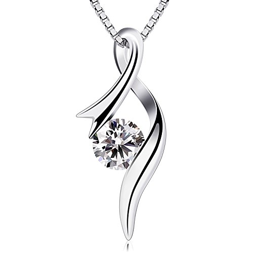 B.Catcher collana da donna in argento con pendente in zircone a diamante