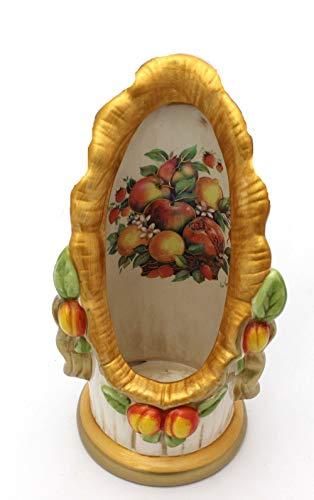 Ilab portabicchieri singolo con frutta e foglie via veneto in ceramica lavorata e firmata a mano originale, larghezza: 14 cm,altezza: 26,6 cm,decorazioni in ceramica, linea cucina m124