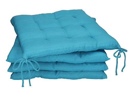 Betz Stuhlkissen Sitzkissen mit Bindebändern Holiday 40x40 cm Menge 4 Stück Farbe Petrol
