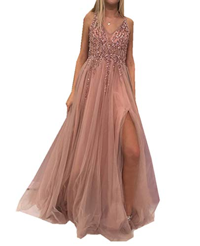 Tüll Fron Slit Prom Kleider Kristall A-Linie Abendkleid Perlen Sexy Prom Dress - Perlen Sexy