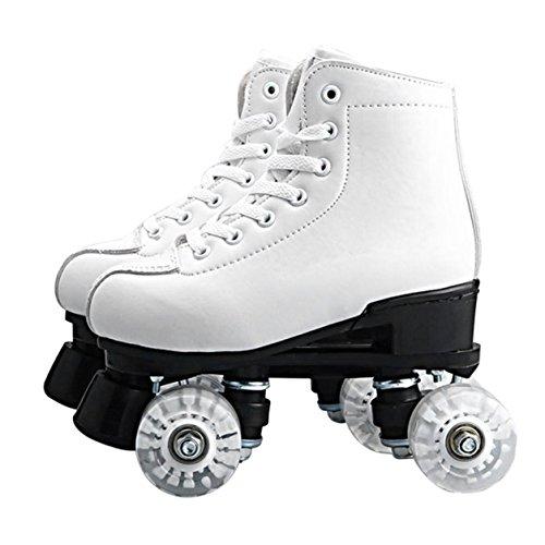 Doppelrollschuhe mit 4 Rädern Schnürschuhe mit Buntem LED-Licht (Farbe: Weiß)