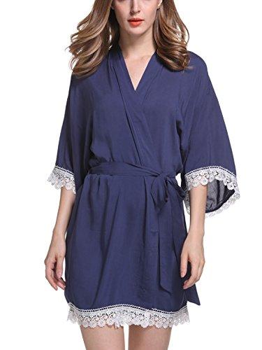 Feoya - Femme Robe de Chambre avec Dentelle Manches 3/4 - Chemise de Nuit Femme Courte - 9 Couleurs Bleu Foncé