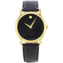 Movado - Reloj de pulsera mujer, piel, color negro