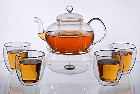 Teekanne Melina 1,3l mit Stövchen (Glas) und 4 doppelwandigen Teegläsern je 200ml, Original