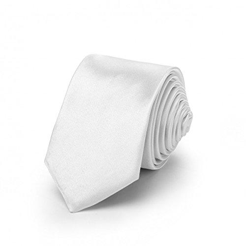 Rusty Bob - Krawatte schmal/dünn 3cm-5cm für Herren [auch für Kinder/Jungen] (uni,nicht gestreift) aus Polyester glänzt wie Seide - Weiß - Silber (Pastell Jahre 60er)