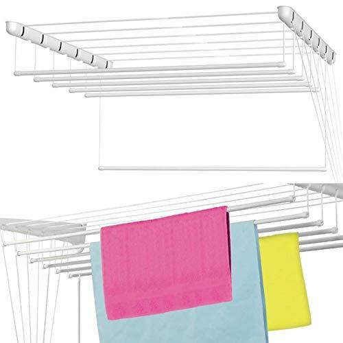 Weißer Decken-Trockner, 5x 120 cm, Seilrolle, Wäscheständer, für Kleidung, Wäsche, 6m Trockenfläche, platzsparend