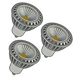 3x Stück - GU10 COB LED Spot 5 Watt dimmbar aus Keramik warmweiß 3000 Kelvin Leuchtmittel Strahler Glühbirne Birne Reflektor für Dimmer