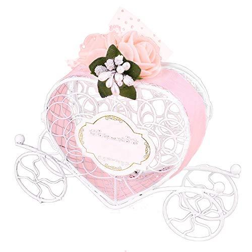 n Herzkutschen-Form, für Süßigkeiten und Schokolade, niedlich, ideal für Hochzeitsfeiern und als Gastgeschenke rose ()