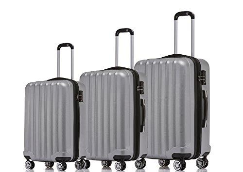 BEIBYE TSA-Schloß 2080 Hangepäck Zwillingsrollen Reisekoffer Koffer Trolley Hartschale Set-XL-L-M(Boardcase) in 12 Farben (Silber, 3tlg. Kofferset)
