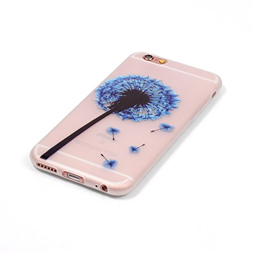 Felfy Coque Pour iPhone 6,iPhone 6S Silicone Case Cover Ultra Mince Slim Silicone élégant Gel Translucide TPU Souple Motif Design Noctilucent TPU Case Slim Fit Protection Case Coque Bumper Cas Housse  Bleu Dandelion