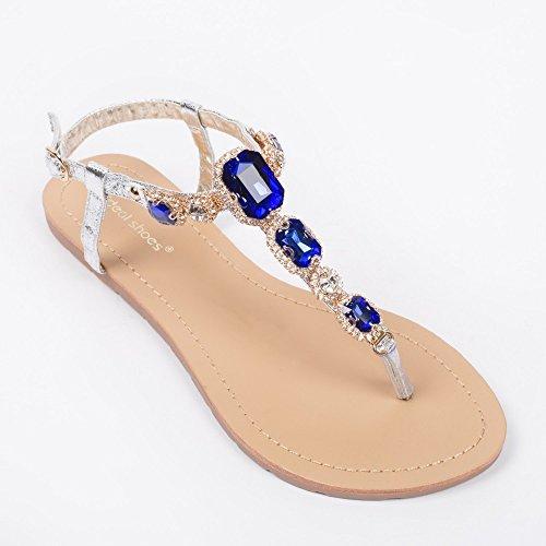 Ideal-Shoes Nu-piedi, effetto glitterato, e legno incrostato Venda strass Blu (blu)