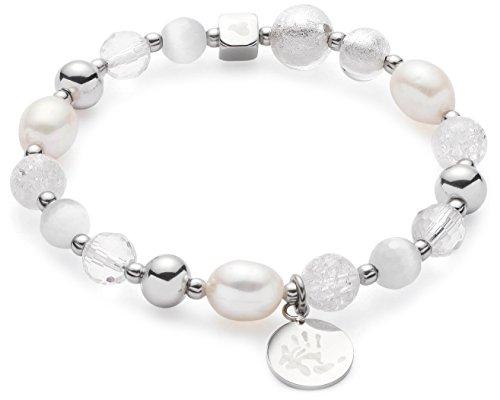 JEWELS BY LEONARDO Damen-Stretcharmbänder Hope Darlin's Edelstahl Glas Süßwasserzuchtperle Cateye silber weiß klar 016506