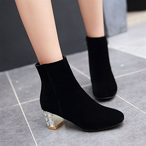 ZQ@X In autunno e inverno a testa circolare di spessore con scarpe con i tacchi alti e elegante sexy lato cilindretto corto stivali Donna stivali Black