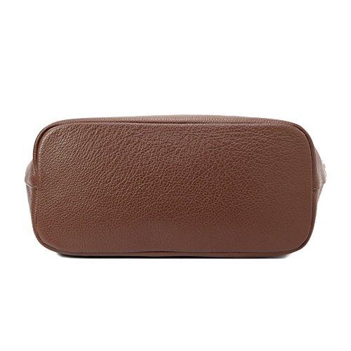 Sabrina - Borsa donna a spalla da donna -in vera pelle - 100% Made in Italy Firenze - Dimensioni:30-43x29x14.5 cm (LxHxL) - EdgeModaStyle Marrone