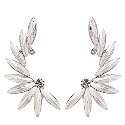 European And American Fashion Inlaid Crystal Arc Exaggerated Wings Popular Earrings,White-M