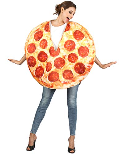 Generique - Pizza-Kostüm für Erwachsene rot-gelb-braun Einheitsgröße ()
