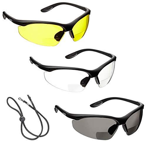 3 x voltX 'Constructor' BIFOKALE Schutzbrille mit Lesehilfe (+2.0 Dioptrie klare, gelbe & rauchgraue Scheibe) CE EN166f Zertifiziert/Sportbrille für Radler - enthält Sicherheitsband mit headstop