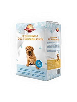 Puppy Training Pads 30-Pack|60cm x 60cm New Super Absorbent Size|This New Unique 5 Layer Solution Protects Laminated Floors Carpets From Smelling|These Are A Heavy Duty Dog Pad|30 Day Guarantee Giving...