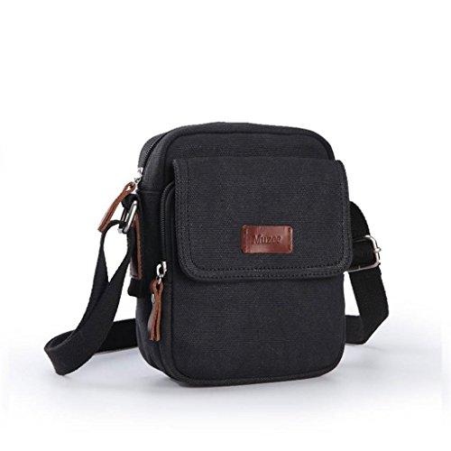 DELLT-Schulterbeutel der Männer Segeltuchtasche kleinen Rucksack Outdoor-Sport und Freizeit Retro Messenger Tasche Mann Tasche Schwarz (Kleinseite )