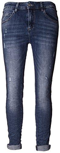 Basic.de Damen-Hose Skinny mit Kontraststreifen aus Metall-Perlen Melly & CO 8166 Jeans L Perlen-hosen