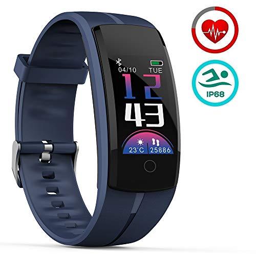 Mengen88 Farb-intelligentes Armband, Pedometer-Sportuhr, kontinuierliche Herzfrequenz-Blutdrucküberwachung wasserdicht IP68 für Android IOS Handy,Blue (Mile Tracker-armband)