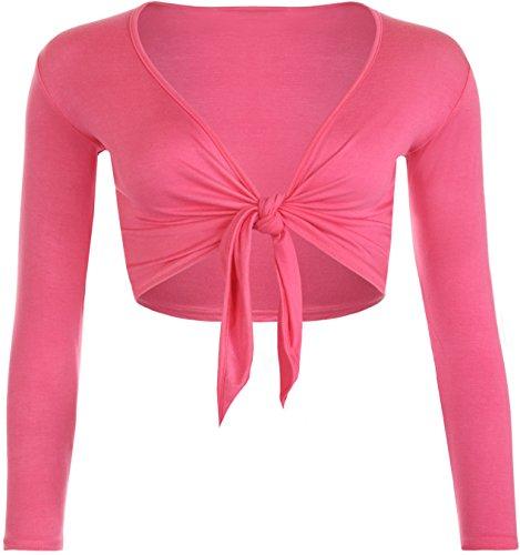 Janisramone Frauen Langarm-Riegel-Front Bolero Bolero Shrug Top Cardigan Größen SM,ML,XL,XXL Cerise