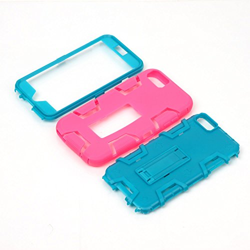 HYAIT® For APPLE IPHONE 6 PLUS 5.5 Case[C2][COLOR LINE][Holder] TPU+PC Premium Hybrid Shockproof Kickst Bumper Full-body Rugged Dual Layer Stents Cover-GREEN&ROSE IPHONE 6 5.5-C2-ROSE&BLUE