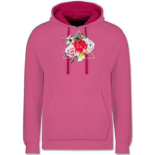 Boheme Look - Blumen in Dreieck - Kontrast Hoodie Rosa/Fuchsia