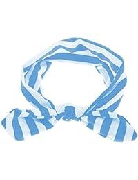 Electomania Baby Girls Kids Cute Bow Headband Stripe Hairband Turban Soft Headwear Accessories (Blue)
