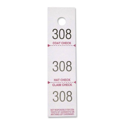 Coat Check Tickets, 3-Part, 500/Pack, White by S.P. Richards Company
