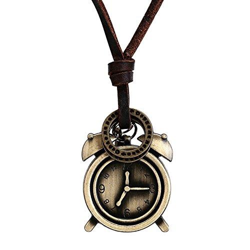 Adisaer Ketten Männer Islam Lederbänder Für Ketten Leder Kreis Uhr mit Wecker Edelstahl Gold Retro Gothic Einstellbar Valentinstag Lederkette Halsketten Für Vater