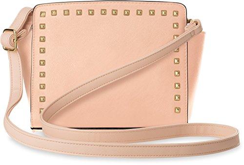 Schultertasche Trapez - Form Damentasche mit Nieten rosa Rosa Trapez