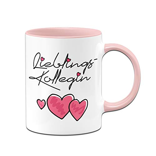 Tasse mit Spruch Lieblingskollegin - Bürotasse, Geschenk Kollegin der Welt, Arbeitskollegin - Tassen mit Sprüchen (Rosa)