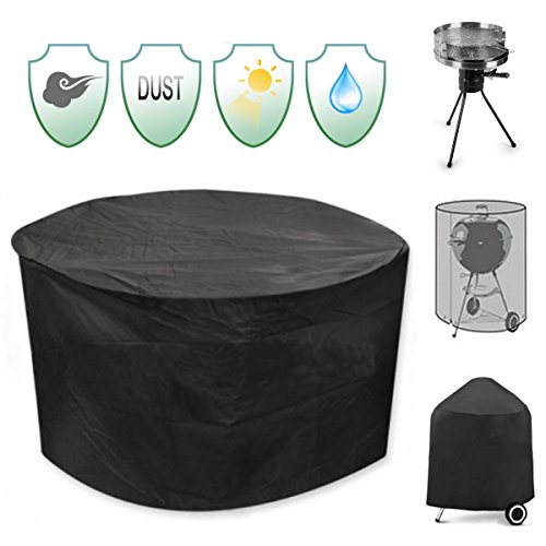Inovey 30inch Patio Round Pit Cover Waterproof UV Protector Grill BBQ Chair Table Shelter Black