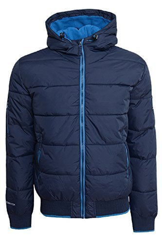 Herren Gepolstert Gesteppt Fleece Gefüttert Mit Kapuze Winterjacke Reißverschlussmantel By Crosshatch - Synthetisch, Marine, 100% nylon, Herren, Large (Fleece-gefütterte Nylon-kapuze Jacke)