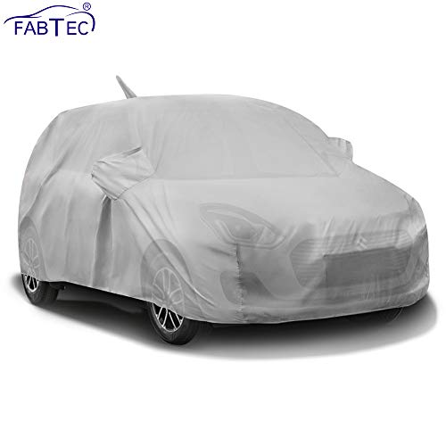 Fabtec Waterproof Car Body Cover for Maruti Swift (2018-2019) with Mirror Antenna Pocket (Full Sized, Triple Stitched, Fully Elastic) (Light Grey)