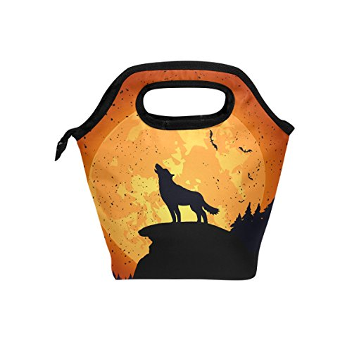 tizorax Halloween Hintergrund mit Wolf Isolierte Lunch-Tasche Outdoor Reise Picknick Tragetasche Lunch Handtaschen Tote für Damen Herren Kinder