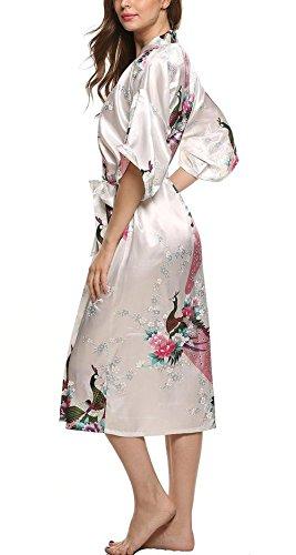 E-darter Soie Artificielle Paon Fleur Robe de Chambre Kimono Femme , Cardigan Peignoir Vêtement de Nuit Femme Rose