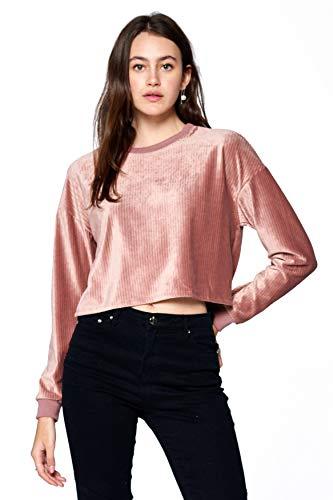 Khanomak Damen Langarm-Sweatshirt mit Rundhalsausschnitt Samt gerippt - Pink - Mittel - Kinder-erwachsenen-sweatshirt Mit Rundhalsausschnitt