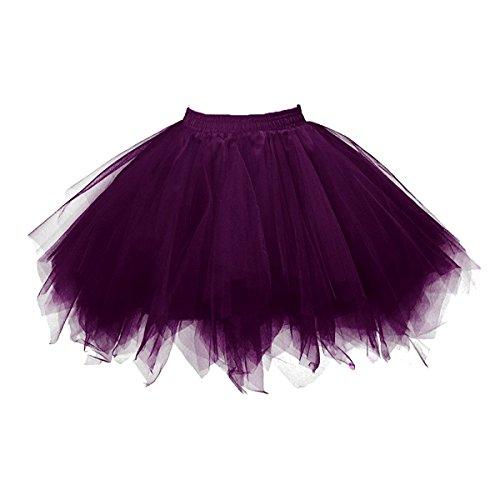 Honeystore Damen's Neuheiten Tutu Unterkleid Rock Ballet Petticoat Abschlussball Tanz Party Tutu Rock Abend Gelegenheit Zubehör Violett (Trenchcoat Kostüm Frauen)