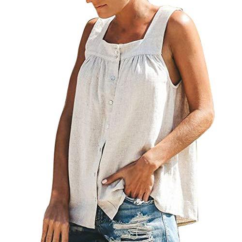 CANDLLY Damen T-Shirt, Frau Mode Lose Einfarbig WesteTunika Knopf Faltet ärmelloses Tanktops Oberteile Hals abschneiden Kleines Leibchen Hemd Pullover(Weiß,S)