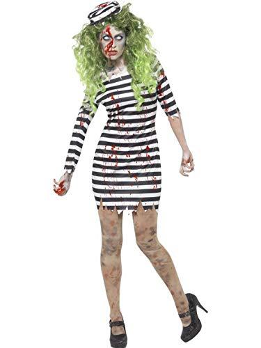 Luxuspiraten - Damen Frauen Kostüm Zombie Häftling Sträfling mit Kleid und Hut, Horror Prisoner Dress and Hat, perfekt für Halloween Karneval und Fasching, XL, Schwarz