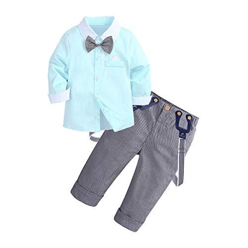 Beikoard_Babykleidung Kinder Jungen Gentleman Hochzeit Anzüge Solides Top-T-Shirt + Hose mit Karierter Hose Taufe Hochzeit Party Sakkos Anzüge Hemd