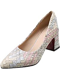 d56c62b34b2512 Vitalo Damen Slip on Spitze Zehen High Heels Pumps mit Blockabsatz und  Blumenmuster Streifen Schuhe