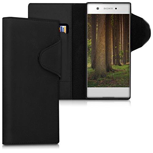 kalibri-Hlle-fr-Sony-Xperia-XA1-Echtleder-Wallet-Case-Schutzhlle-mit-Fach-und-Stnder-in-Schwarz
