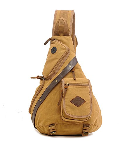 Koolehaoda Vintage Canvas with Cowhide Real Leather Chest Pack (8171-Coffee) White